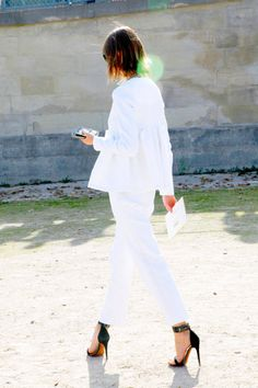 all white on the streets of Paris......PFW 2012