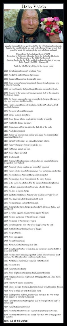 Crazy predictions. But some of them don't sound that far fetched. Who knows? Stranger things have happened.