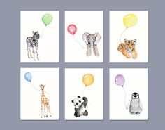 Nursery art animals- Baby animals print set for nursery- colors of the rainbow *** Set of 6 Vertical prints from my original watercolor paintings use the drop down box to select your size 3 sizes available.... 5 X 7, 8 X 10 and 11 X 14 *** printed on 100% archival cotton rag fine art paper - 2 colors available.... white or natural white/off white *** Epson Ultra chrome archival pigment inks are used *** prints will be shipped inside a protective sleeve inside a stiff photo mailer *...