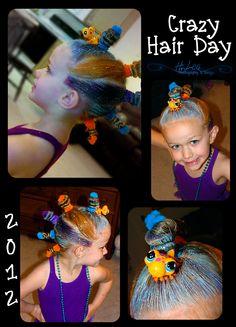 "Our version of ""Cute Girls Hair Styles"" Bun Hawk for Crazy Hair Day :)"