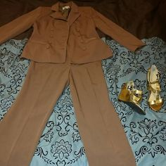 J.G Hook suit set In mint condition. Rarely worn. Dark brown in color. Wedges are a size 7.5 & are Worthington brand J.G Hook Jackets & Coats Blazers