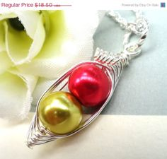 ON SALE Personalized Birthstone Necklace Two by Kikiburrabeads, $16.28