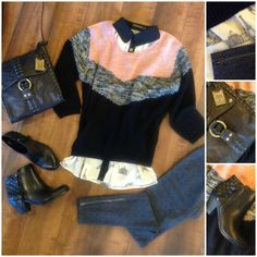 Pink & black pullover sweater over a black contrast collar novelty print shirt paired with herringbone leggings with zippers.  Sam Edelman booties & a Frye cross body bag were added for the perfect sweater weather look!