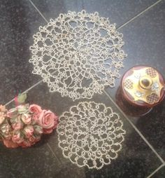 2 CREAM/ECRU DOILLIES... Vintage French Tatting Doily. The Cotton Weight in These Items is the Same. Same Pattern on Each. Handmade Doilies. by fleursenfrance. Explore more products on http://fleursenfrance.etsy.com