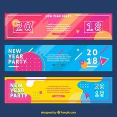 2018 banners de ano novo Free Vector