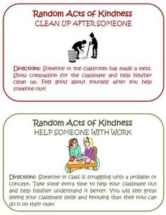 If you want to build a strong and caring classroom community then this Random Acts of Kindness Unit is for you!Included in the unit is:-teacher lesson plans to get the unit started with ideas and tips of how to use in your classroom-16 colorful cards that contain the 16 behaviors that you would like to see your students achieve-a student tracking board to keep track of their successesThe idea is based off of Random Acts of Kindness Week.