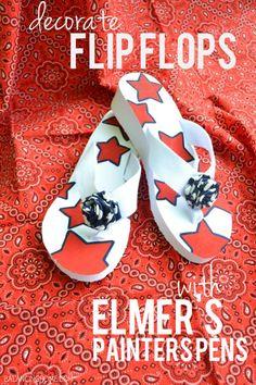 Elmer's Painters Pens Flip Flops #GluenGlitter #cbias