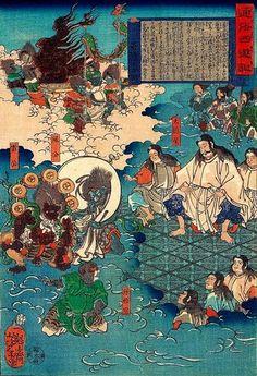 A scene of Journey to the West - Tsukioka Yoshitoshi