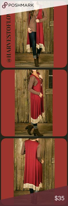 💄BURGUNDY DUSTER VEST💄 ❤Lightweight and easy to wear all day long ❤Fringe along the bottom ❤True to size ❤Size is a S/M ❤95% Rayon  ❤5% Spandex😍👌❤😃🙌👍💄😙❤✌ BOTIQUE  Jackets & Coats Vests