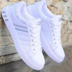 Fashion Men's White Casual Shoes Leather Male Sport Comfortable Running Sneakers Men mocassin homme Lace up Breathable Shoes Mens White Casual Shoes, Mens White Sneakers, Men Sneakers, Adidas Mens Trainers, White Shoes For Men, White Shoes Outfit, Casual Sneakers, Black Shoes, Mens Fashion Shoes