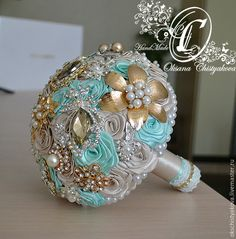 Blue Mint Brooch Bouquet, Champagne and Gold Wedding Brooch Bouquet, Bridal… Crystal Bouquet, Wedding Brooch Bouquets, Bride Bouquets, Bridesmaid Bouquet, Bridesmaids, Wedding Color Schemes, Wedding Colors, Wedding Flowers, Wedding Ideas