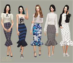 SIMS4 marigold: Mermaid Line Midi-Skirt_v1.pattern_머메이드 미디 스커트_패턴 버전_여자 의상