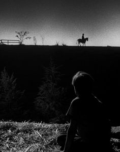 """Billy Chapin in Night of the Hunter dir. Charles Laughton) """"One of the shots in the picture most frequently commended by critics occurs during John and Pearl's journey down the river, when they decide to spend the night in a barn…John (Billy. Great Films, Good Movies, Nine Out Of Ten, Best Cinematography, Movie Shots, Great Shots, Film Stills, Old Hollywood, Hollywood Photo"""