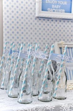 vintage milk bottles styled for a baby shower by www.prettylittlevintage.com.au