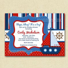 Mod Bright Sailboat Baby Shower or Birthday Party Invitation - Digital File - PRINTABLE INVITATION DESIGN via Etsy