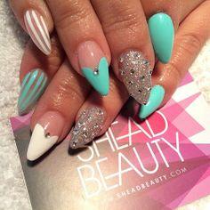 Mint x white #nails #sheadbeauty #SheaD #art #stiletto #bling #beauty #spring #summer #artist #nailart #london