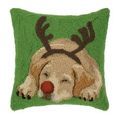 Bold and delightful, this amazing pillow is colorful, graphic and really makes a statement! Celebrate your love of dogs with this gorgeous wool hooked pillow that features a charmi