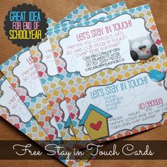 Becoming Martha: Lets Stay in Touch Cards - 2013 Version: Perfect for your kids to hand out to their friends before school breaks for summer!
