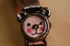 Vintage Watch, Leather Band, Handcraft Watch, A cute little bear, One of a kind on Etsy. Love it!