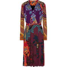 Etro Printed crepe wrap dress ($1,265) ❤ liked on Polyvore featuring dresses, floral print dress, floral dresses, multi-color dress, wrap dress and purple wrap dress