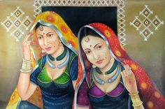 Looking Awesome - Painting African Art Paintings, Cool Paintings, Beautiful Paintings, Rajasthani Painting, Rajasthani Art, Indian Women Painting, Composition Painting, Art Web, Tanjore Painting