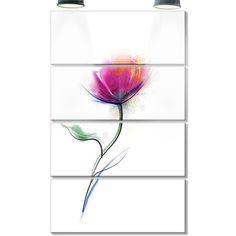 DesignArt 'Vector Watercolor Floral Design' 4 Piece Painting Print on Canvas Set