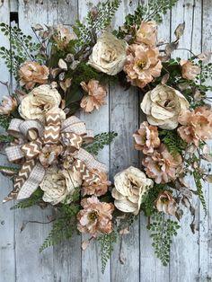 Everyday Home Decor Wreath, Cream Flower Wreath for Door, Home Decor Wreaths, Elegant Everyday Wreath for Home, Wreaths