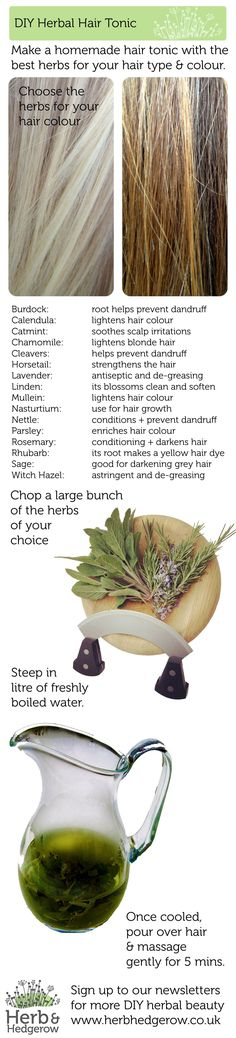 Herbal Hair Tonic - Make your own homemade DIY beauty recipes and start with this lovely yet simple recipe to use herbs for your hair. #DIYbeauty Sign up for more DIY beauty recipes at www.herbhedgerow.co.uk