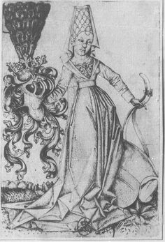 Master E.S. Lady with the Coat of Arms of Austria. c. 1466.