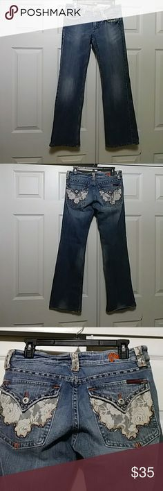 """Miss Me Jeans"" Lace detail on pockets..32 inch inseam. Miss Me Jeans Boot Cut"