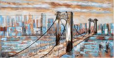 The Bridge to the City of Dreams on Barn Wood Dream City, Brooklyn Bridge, Barn Wood, Original Art, Dreams, Wall Art, Travel, Painting, Collection