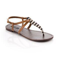 leather + canvas sandals