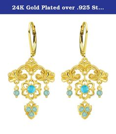 24K Gold Plated over .925 Sterling Silver Blossom Chandelier Earrings by Lucia Costin Accented with Delicate Flowers, Cute Ornaments, Turquoise and Mint Blue Swarovski Crystals; Handmade in USA. A frame bursts with abundant flowers in these splendid chandelier earrings designed by Lucia Costin. The designs of Lucia Costin are very unique and luxurious made with high quality materials and stones. Lucia Costin was born and raised in Eastern Europe, that is why all her products have a…