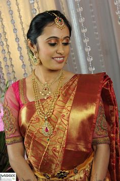 south indian bride wearing kundan set,makeover by magixspa South Indian Bridal Jewellery, Indian Bridal Fashion, Indian Wedding Jewelry, Bridal Jewelry, Beautiful Blouses, Beautiful Saree, Beautiful Bride, South Asian Wedding, South Indian Bride