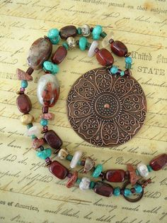 BOHO Necklace, Southwest Necklace, Turquoise Jewelry, Cowgirl Jewelry, Aztec, Rustic on Etsy, $98.00