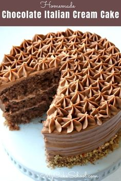 This amazing Chocolate Italian Cream Cake is the best! Wonderful flavor from chocolate and pecans, and frosted in a delicious chocolate cram cheese frosting!
