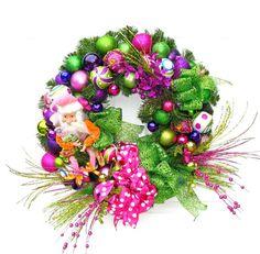 Whimsical Santa Wreath / Christmas Wreath / Holiday Wreath / Retro Wreath / Pink and Green Wreath / Ornament Wreath / Christmas Decor