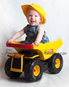 6 Month Old Baby in a Tonka Truck | Construction Worker | Portrait Poses | Photo Idea | Photography | Cute Kid Pic | Baby Pics | Posing Ideas | Kids | Children | Child | ~Bountiful Utah Photographer close to Salt Lake City | Ogden | Provo UT~
