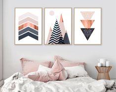 Set of 3 Printable Art Print Set Scandinavian Print Bedroom Wall, Bedroom Decor, Dream Bedroom, Bedroom Ideas, Copper And Pink, Geometric Wall Art, Geometric Painting, Diy Wall Art, My Room
