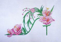 Handpainted NEW Evening Primrose Slipper needlepoint canvas
