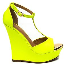 Tip Off Platform Wedges YELLOW ($24) ❤ liked on Polyvore featuring shoes, yellow, platform wedge shoes, platform shoes, peep toe shoes, faux leather shoes and pointy shoes