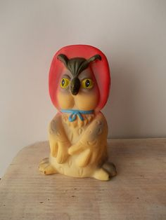 Vintage toy owl / Russian rubber Toy / Aunt Owl by EUvintage, $20.00