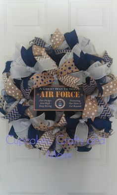 US Air Force Wreath, US Air Force Deco Mesh Wreath, Air Force Wreath, Air Force Mesh Wreath, Military Wreath, US Militarty Wreath by CupcakesCraftyMom on Etsy https://www.etsy.com/listing/192018086/us-air-force-wreath-us-air-force-deco