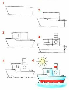 Art video for children learn with fun drawing, painting and crafting Boat Drawing, Basic Drawing, Step By Step Drawing, Painting & Drawing, Drawing Lessons For Kids, Easy Drawings For Kids, Art Lessons, Art For Kids, Doodle Drawings