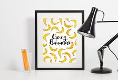 Items similar to Going Bananas Funny Printable Poster - Watercolor Housewarming Gift - Fruits Kitchen Art funny Quote on Etsy