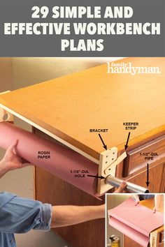 29 Simple and Effective Workbench Plans Building A Workbench, Workbench Plans, Rosin Paper, Craft Room Decor, Cordless Tools, Multipurpose Room, Bench Vise, Woodworking Vise, Simple Way