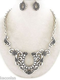 Brighton Bay Jewelry Silver Tone Decorative Horseshoe Necklace and Earrings Set