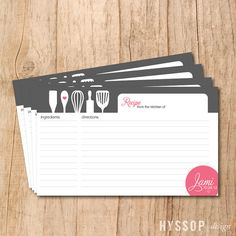 recipe cards, DIY bridal shower ideas