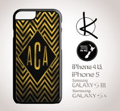 Gold Foil Chevron Monogram  iPhone 4/4S 5/5S 6 and by Kultured