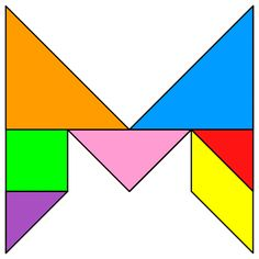 Tangram Letter M - Tangram solution - Providing teachers and pupils with tangram puzzle activities Team Activities, Sensory Activities, Activities For Kids, Paper Folding Techniques, Tangram Puzzles, Letter Patterns, Teaching Math, Travel With Kids, Origami